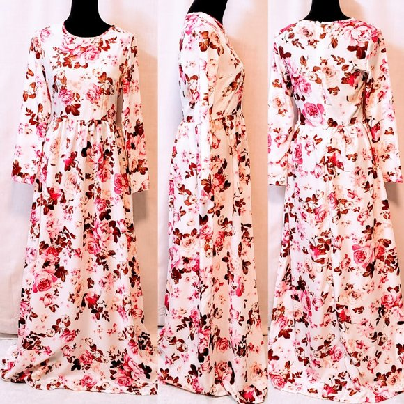 Zui Ren IV Dresses & Skirts - 💕Rose floral print Long Sleeve Maxi Dress size L